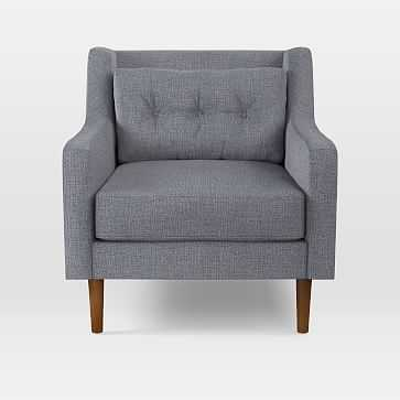 Crosby Arm Chair, Yarn Dyed Linen Weave, Shelter Blue, Pecan - West Elm