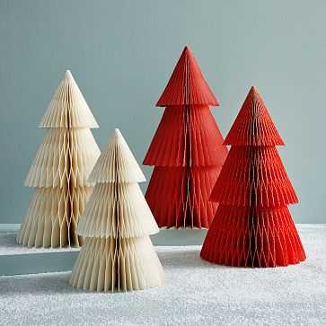 "Accordion Paper Tree, Large, Ivory + Silver, 20"" - West Elm"