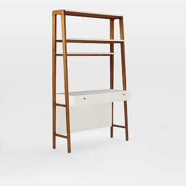 Modern Wall Desk, Pecan/White - West Elm