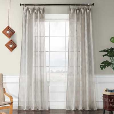 Exclusive Fabrics & Furnishings Calais Tile Gray Patterned Linen Sheer Curtain - 50 in. W x 96 in. L (1-Panel) - Home Depot