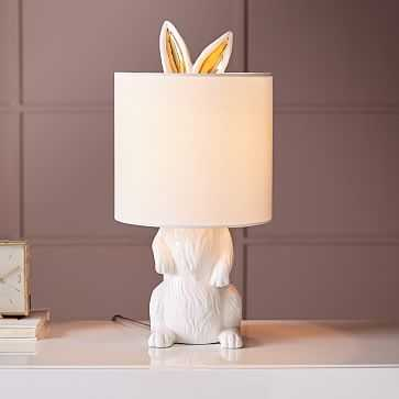 Ceramic Nature Rabbit Table Lamp, White - West Elm