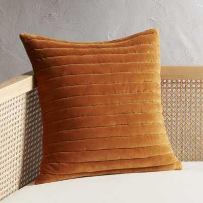 """18"""" Channeled Copper Velvet Pillow with Down-Alternative Insert - CB2"""