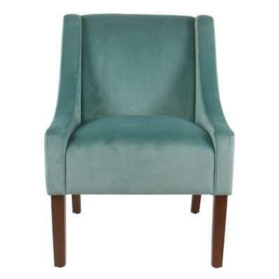 Homepop Light Aqua Velvet Modern Velvet Swoop Arm Accent Chair - Home Depot
