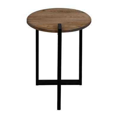 Sundial Contemporary Round End Table, Forest Gray(Top)Legs(Black) - Home Depot