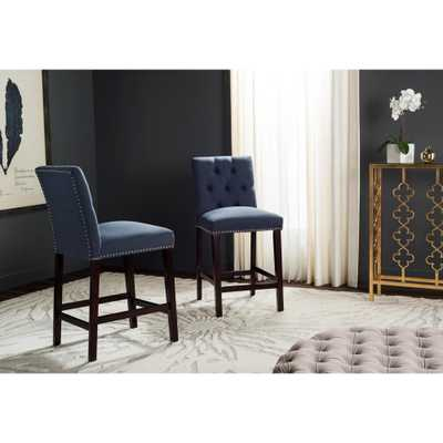 Norah 27.5 in. Counter Stool in Navy (Blue) (Set of 2) - Home Depot