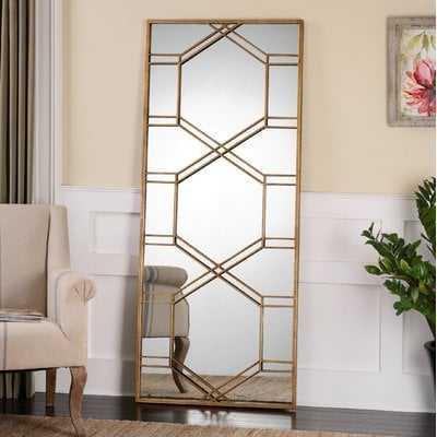 Rectangle Gold Leaf Leaner Mirror - Wayfair