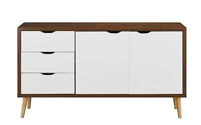 Modern 2-Tone Wooden Entertainment Center TV Stand Console, Drawers Brown/White - eBay