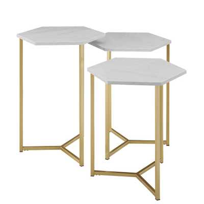Modern Transitional Graphite/Gold Hex Wood and Metal Nesting Tables (Set of 3), Faux White Marble/Gold - Home Depot