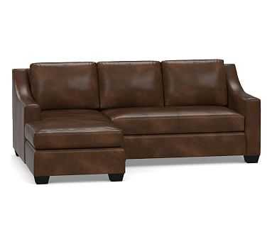 York Slope Arm Leather Right Arm Sofa with Chaise Sectional, Down Blend Wrapped Cushions, Leather Vintage Cocoa - Pottery Barn
