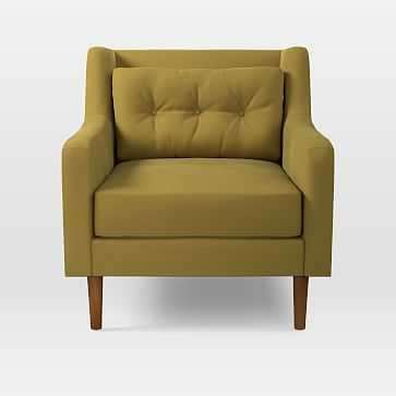 Crosby Arm Chair, Plush Velvet, Wasabi - West Elm