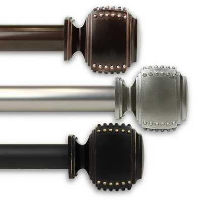 Rod Desyne Studded 1 in. Curtain Rod 120 in. to 170 in. in Bronze - Home Depot