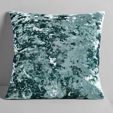 "Pressed Velvet Pillow Cover, Dark Green Basil, 20""x20"" - West Elm"