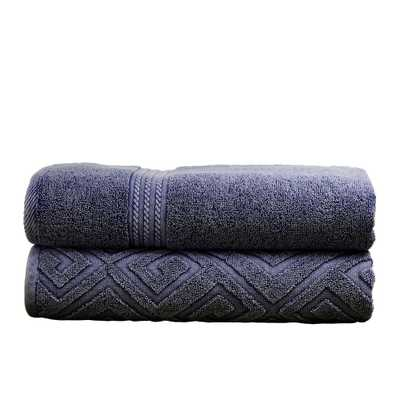 2-Pack Denim (Blue) Washed Deco Diamond Bath Towel Set in Denim - Home Depot