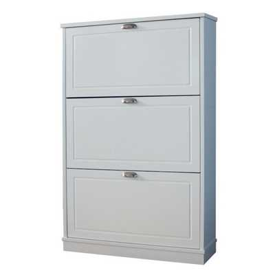 JENLEA 46 in. x 30 in. 15-Pair Shoe Storage Cabinet with 3 Drawers in White Finish - Home Depot