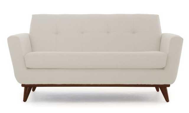White Hughes Mid Century Modern Apartment Sofa - Tussah Snow - Mocha - Joybird