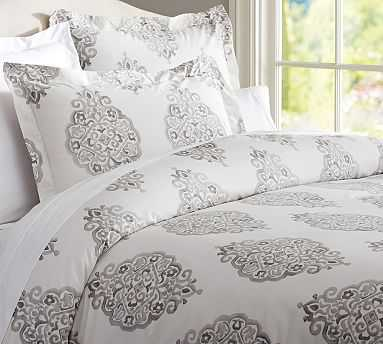 Asher Organic Duvet Cover, King/Cal. King, Gray - Pottery Barn