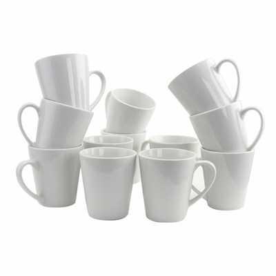 Noble Court 12 oz. White Coffee Mug (Set of 12) - Home Depot