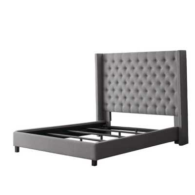 Fairfield Grey Tufted Fabric Queen Bed with Wings - Home Depot