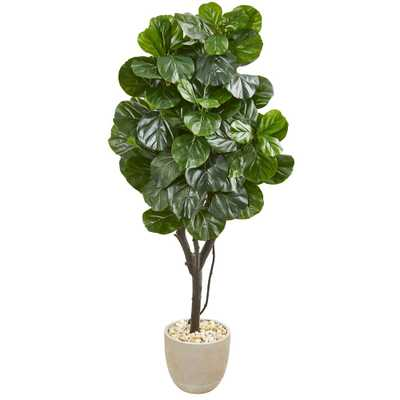 Nearly Natural Indoor 67 Fiddle Leaf Fig Artificial Tree in Sand Stone Planter - Home Depot