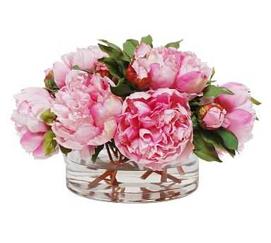Faux Peonies In Open Cylinder Vase - Pottery Barn