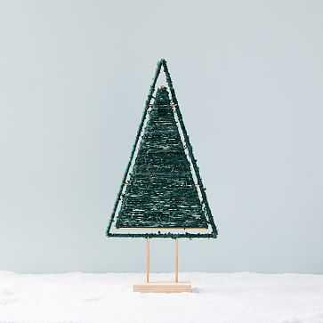 Wool Wrapped Tree Object, Medium Filled, Green - West Elm