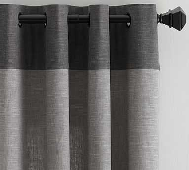 "Emery Border Linen Drape, 50 x 96"", Gray/Charcoal - Pottery Barn"