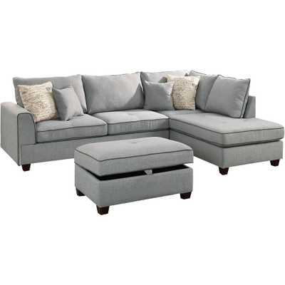 Siena 3-Piece Sectional Sofa in Light Gray with Storage Ottoman - Home Depot