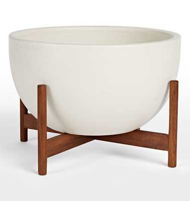 Modernica Case Study® Bowl with Walnut Stand - White - Rejuvenation