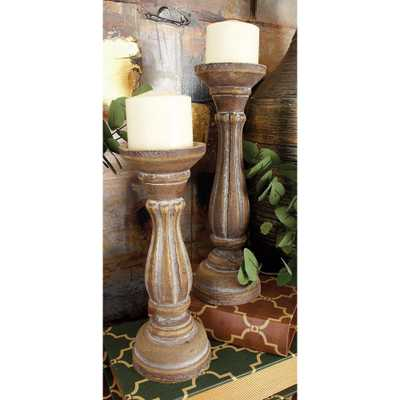 Rustic Brown Round Pillar Candle Holders (Set of 3), Brown/Tan - Home Depot