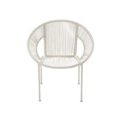 White Tin and Rattan Round Chair - Home Depot