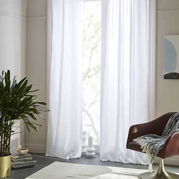 "Sheer Belgian Flax Linen Curtain, White, 48""x84"" -Individual - West Elm"