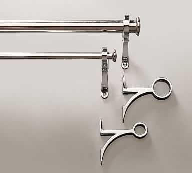 "PB Standard Drape Rod and Wall Bracket, .75"" diam., Medium, Polished Nickel Finish - Pottery Barn"