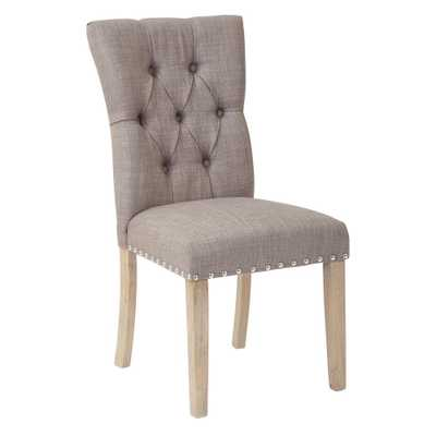 Preston Dining Chair in Marlow Dolphin Fabric with Silver Nailheads and Brushed Legs - Home Depot