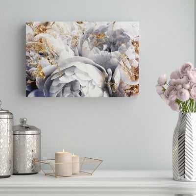 'Her Peony Garden Floral and Botanical Art' Framed Canvas Gray/Gold - AllModern