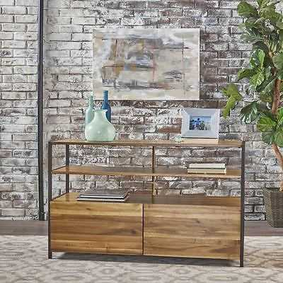 Flossie Natural Stained Acacia Wood Cabinet With Rustic Finished Iron Accents - eBay