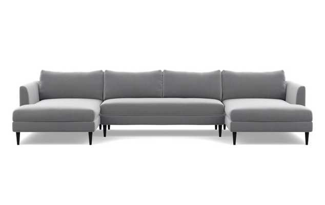 Owens U-Sectional with Elephant Fabric, Painted Black legs, and Bench Cushion - Interior Define
