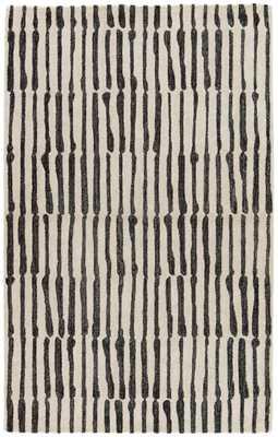 Nikki Chu by Saville Handmade Abstract White/ Black Area Rug (2' X 3') - Collective Weavers