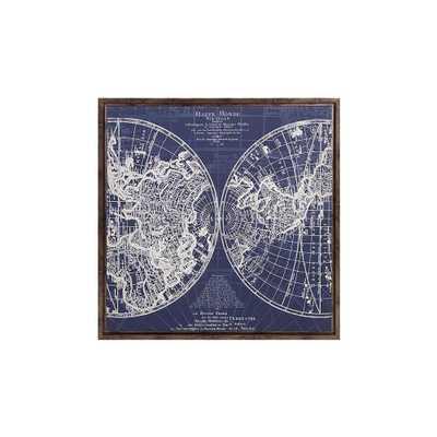 """34 in. x 34 in. """"Mappe Monde"""" Framed Wall Art, Blue - Home Depot"""