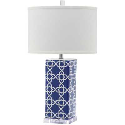 Safavieh Quatrefoil 27 in. Navy Table Lamp with White Shade - Home Depot