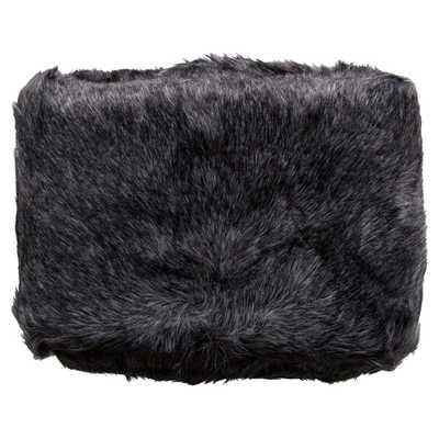 Wilke Rustic Lodge Black Faux Fur Throw Blanket - Kathy Kuo Home