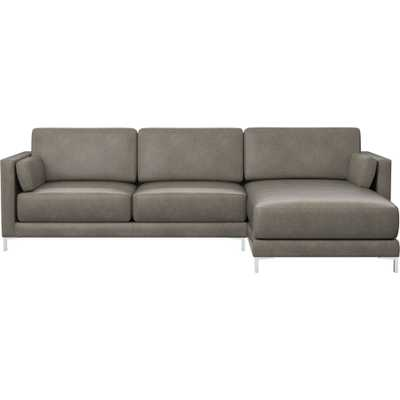 district grey leather 2-piece sectional sofa - LEFT ARM CHAISE - CB2