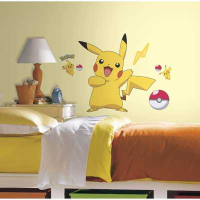 5 in. x 19 in. Pokemon Pikachu Peel and Stick Wall Decal, Yellow - Home Depot