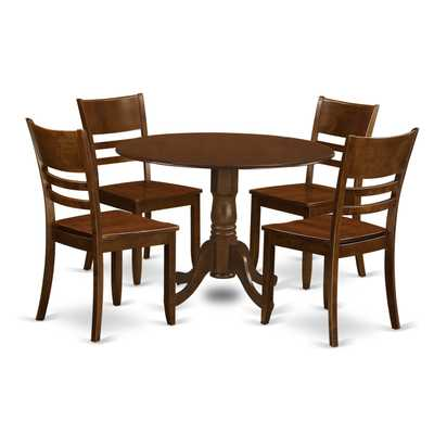 Dublin Espresso 5-Piece Dining Set: Wood Seat - Espresso Wood - eBay
