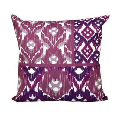 E by Design 16 x 16-inch, Free Spirit, Geometric Print Pillow, Purple, Purples/Lavenders - Home Depot