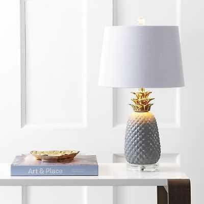 """Pineapple 23"""" Ceramic LED Table Lamp, Gray/Gold - eBay"""