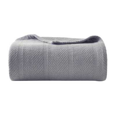 Eb Gray 100% Cotton Full/Queen Blanket - Home Depot