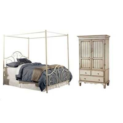 2 Piece Bedroom Set with Wardrobe Armoire and Queen Canopy Bed - eBay