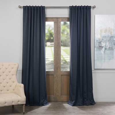 Exclusive Fabrics & Furnishings Semi-Opaque Nocturne Blue Blackout Curtain - 50 in. W x 84 in. L (Panel) - Home Depot