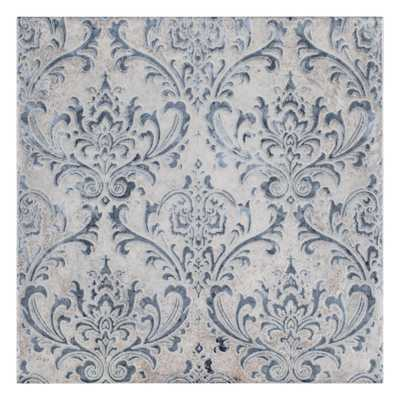 Merola Tile Milano Decor Daman Azul 7-7/8 in. x 7-7/8 in. Ceramic Wall Tile (11.29 sq. ft. / case), Blue and Gray / Mixed Finish - Home Depot