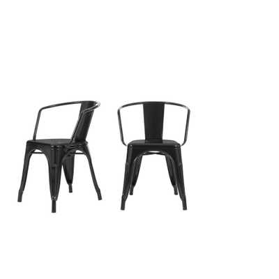 StyleWell Black Metal Dining Chair (Set of 2) (20.28 in. W x 28.35.95 in. H) - Home Depot